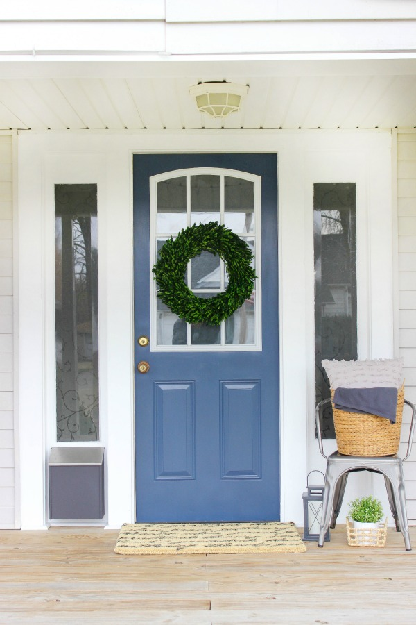 Front Porch Makeover with DecoArt Nantucket Grey Door by The Casual Craftlete