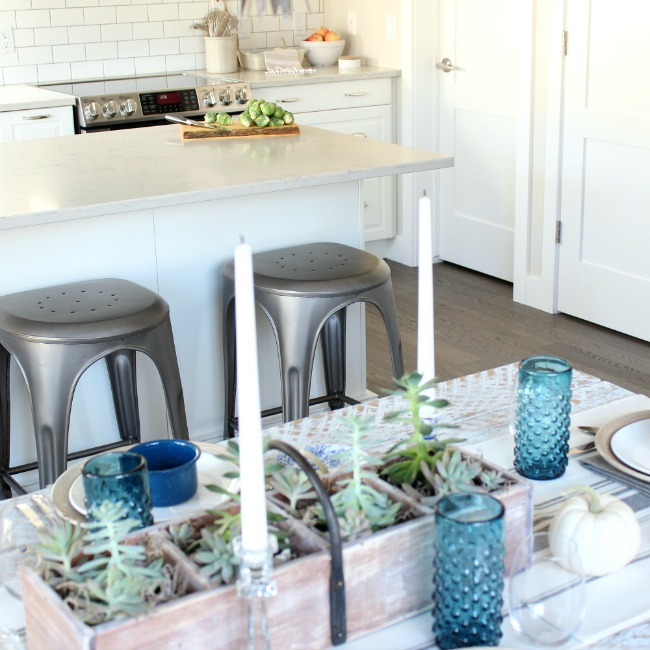 Fall Home Decor Picks to Warm Up Your Kitchen - Classic White IKEA Kitchen Decorated for Fall