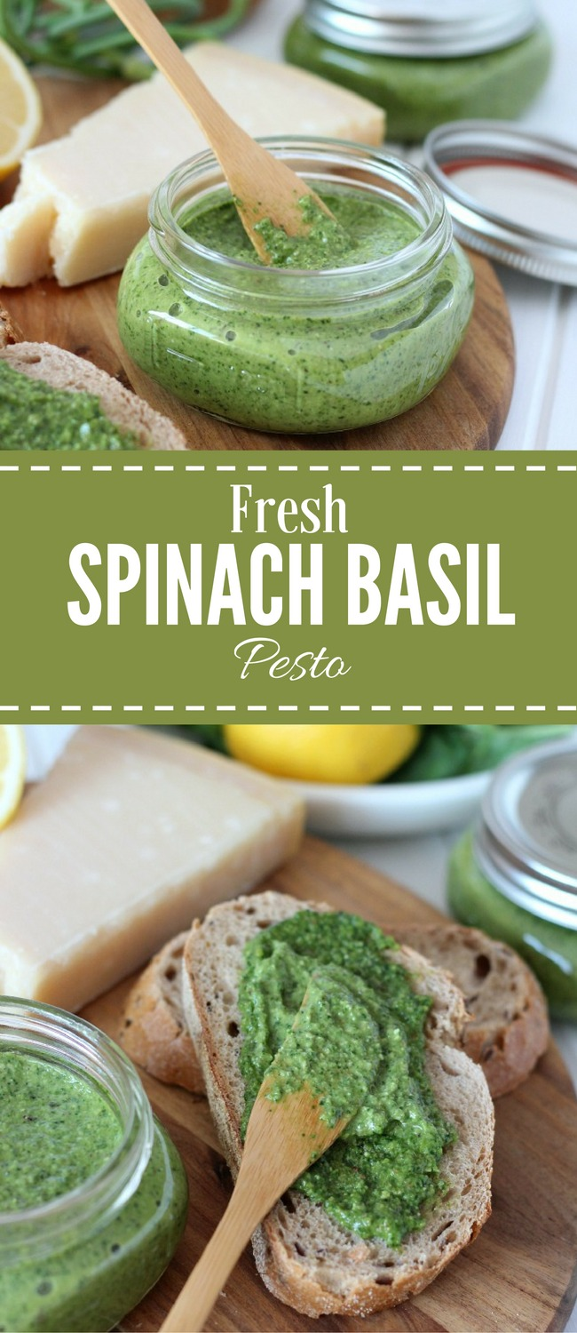 Fresh Spinach Basil Pesto with Garlic Scapes - Recipe by Satori Design for Living