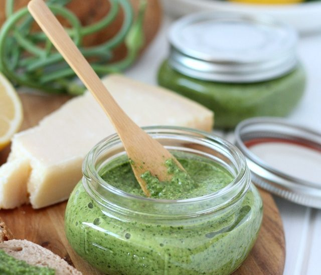 Make this spinach basil pesto with fresh ingredients straight from the garden!