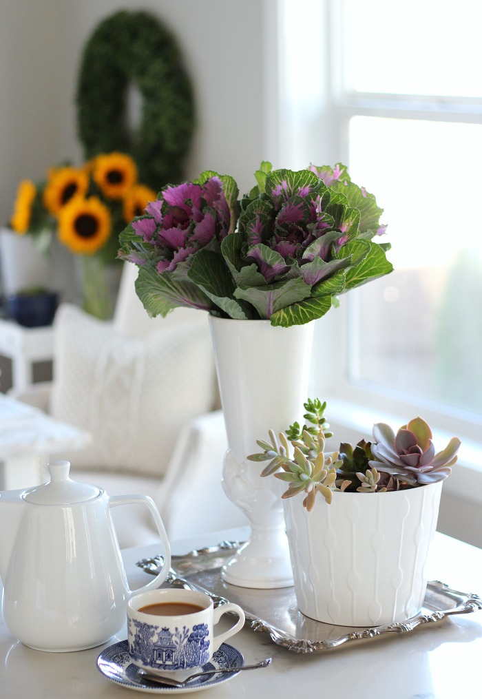 Fall Home Tour - Kale Roses and Succulents in the Kitchen - Satori Design for Living