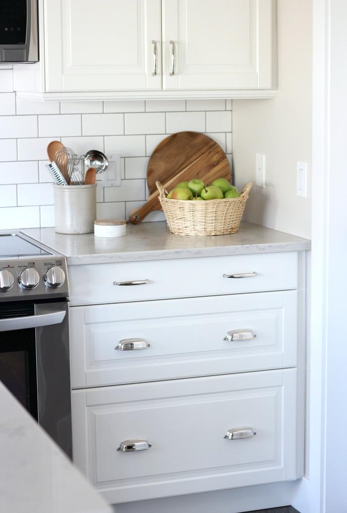 Fall Home Tour - White IKEA Kitchen with Subway Tile Backsplash and Marble Quartz Countertop - Satori Design for Living