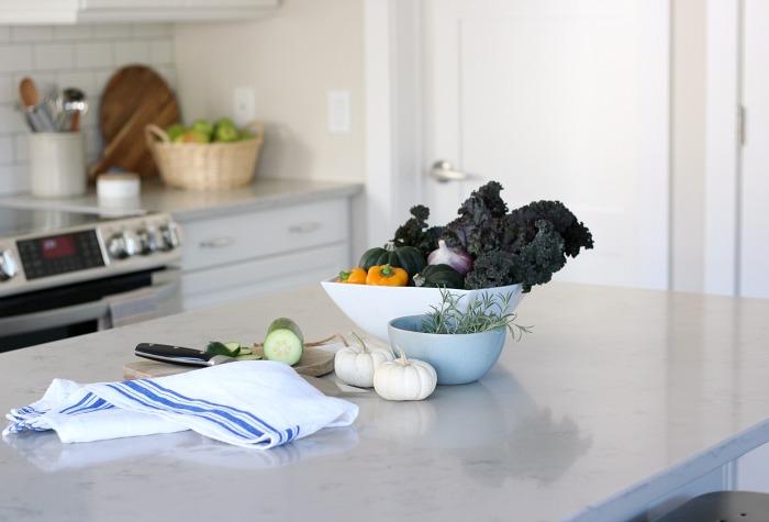Fall Kitchen Tour - White IKEA Cabinets, Subway Tile Backsplash and Marble Quartz Countertops - Satori Design for Living
