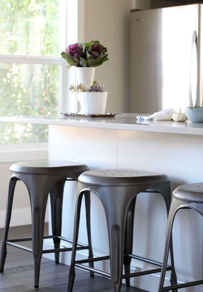 Fall Home Tour - French Bistro Style Metal Counter Stools - White IKEA Kitchen Island - Satori Design for Living