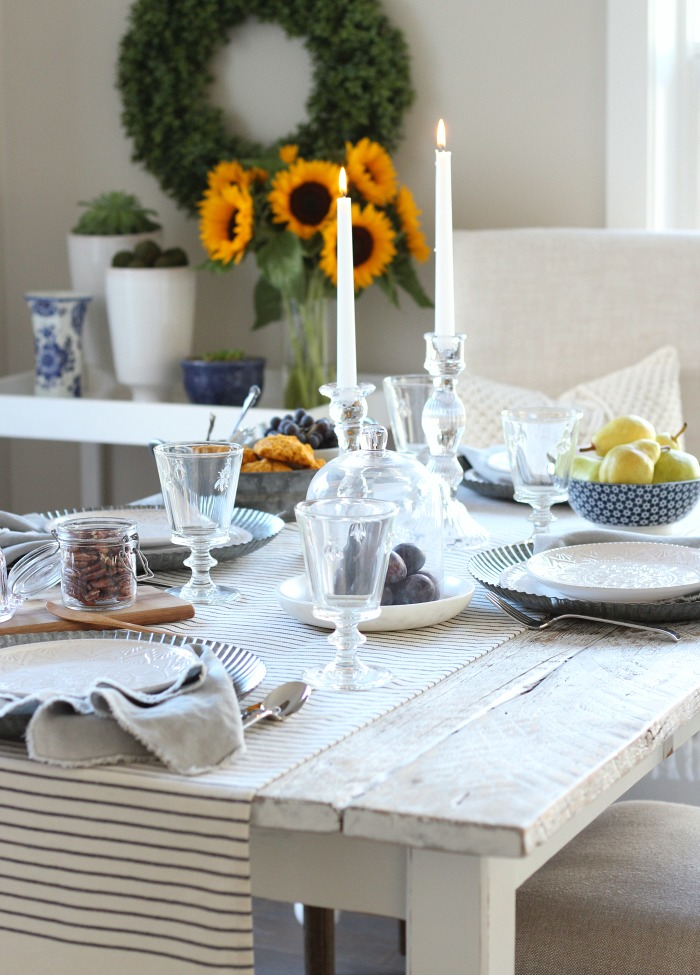 Fall Home Tour with a French Farmhouse Inspired Table Setting and Kitchen Decorating Ideas