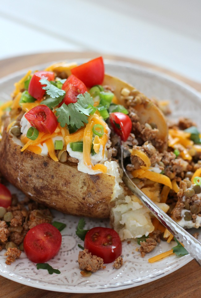 Healthy Loaded Baked Potato with Turkey and Lentils