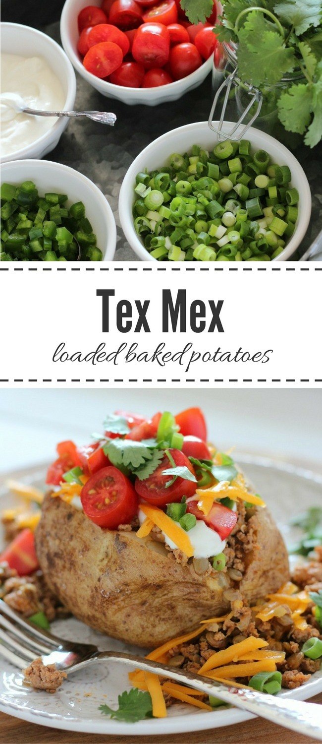 These Tex Mex Loaded Baked Potatoes with ground turkey and lentils are a tasty and healthy dinner idea the whole family will love! #loadedbakedpotatoes