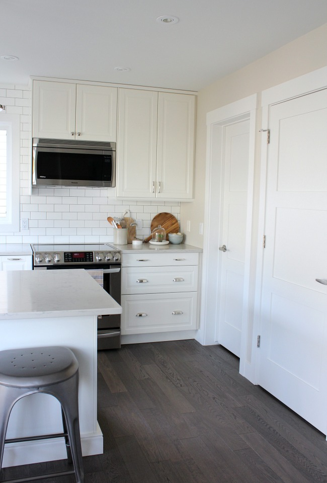 White Craftsman Style Trim and Doors in the Kitchen
