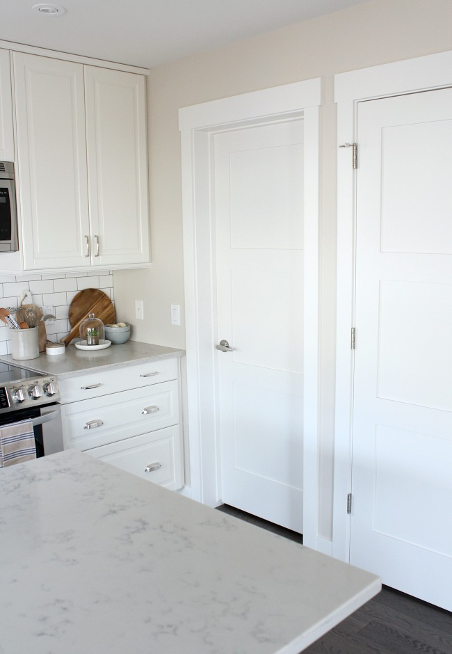 Kitchen with White Painted Shaker Style Trim and Doors - Satori Design for Living