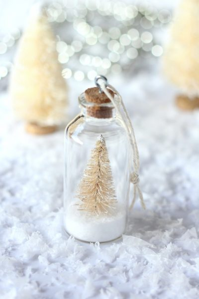DIY Bottle Brush Tree Ornaments - Mini Bottle Ornaments with Snowy Trees - Satori Design for Living