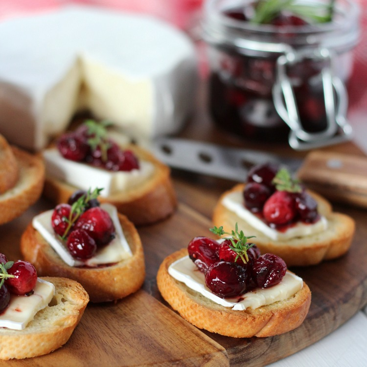 Festive Crostini Holiday Appetizer Recipe with Cranberries and Brie - Satori Design for Living