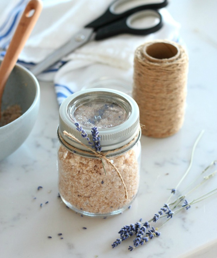 Lavender Hand Scrub in GEM Jar with Lavender Sprig