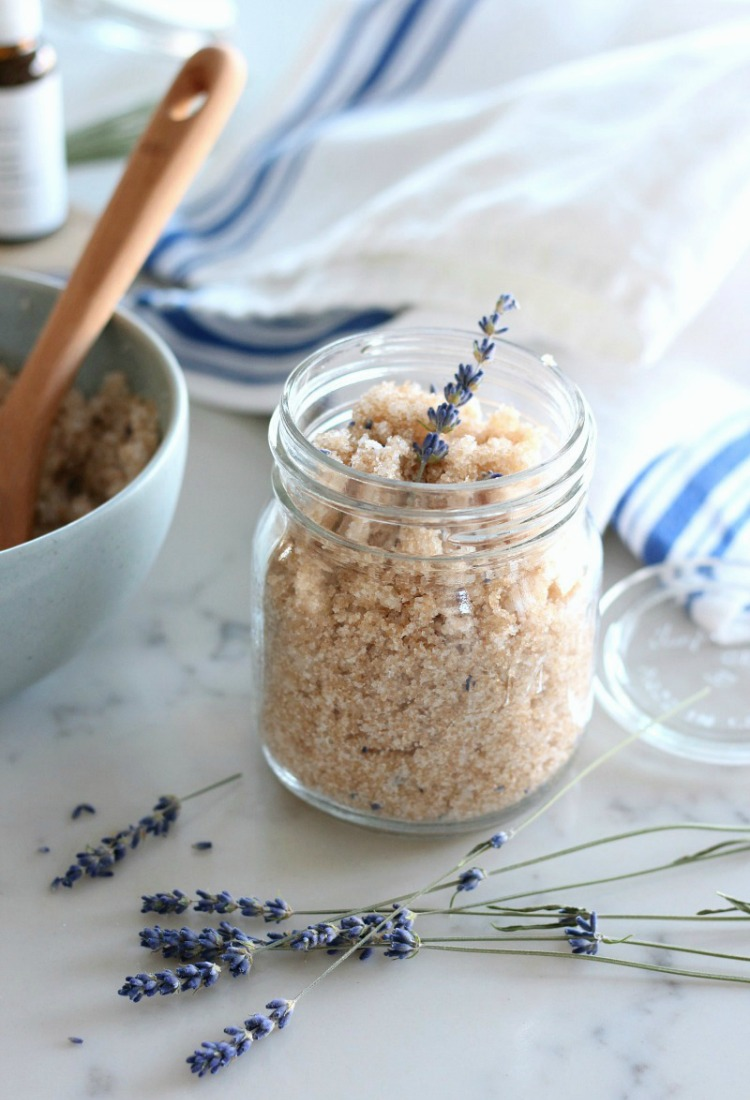 Homemade Lavender Sugar Scrub in Jar