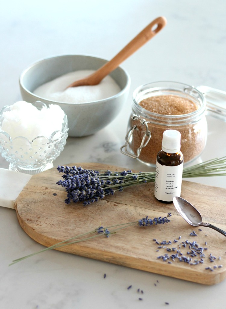 DIY Lavender Sugar Scrub Ingredients