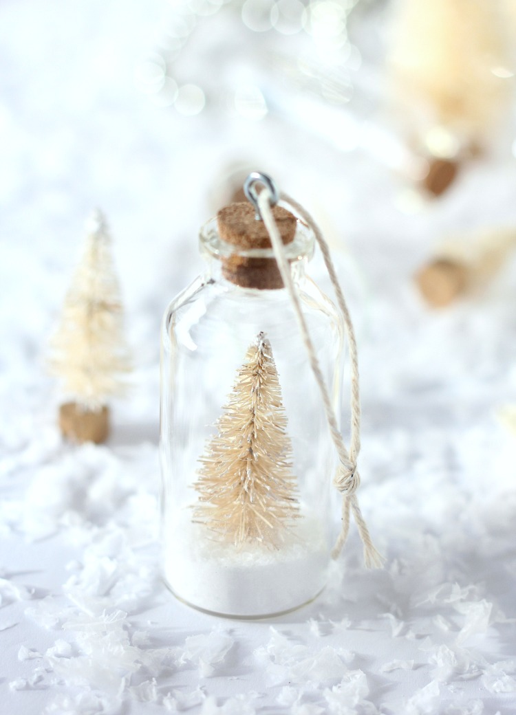 Snowy Bottle Brush Tree Ornaments - DIY Tree Decorations - Satori Design for Living