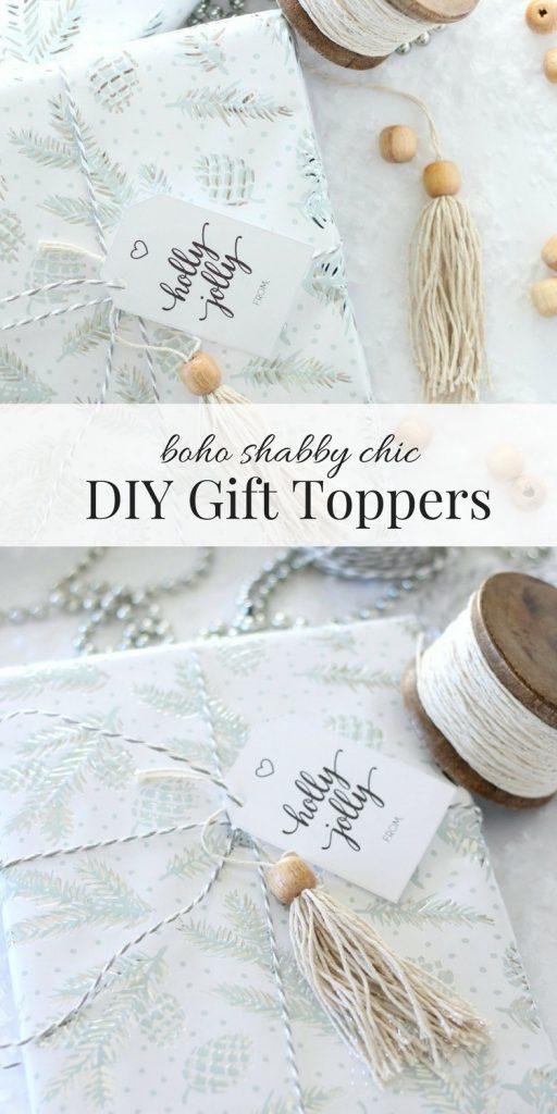 Boho Shabby Chic Christmas Gift Toppers - DIY Gift Embellishments for the Holidays - Satori Design for Living