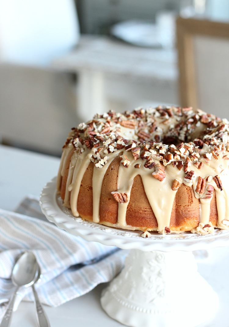 Caramel Pecan Bundt Cake - A Delicious Holiday Cake with Gooey Caramel Glaze and Toasted Pecan Topping - Satori Design for Living