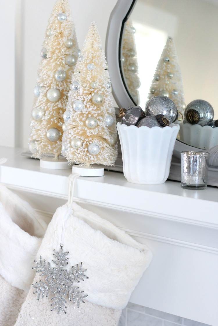 Christmas Home Tour - Mantel Decorated with Bottle Brush Trees, Milk Glass and Handblown Ornaments - Satori Design for Living