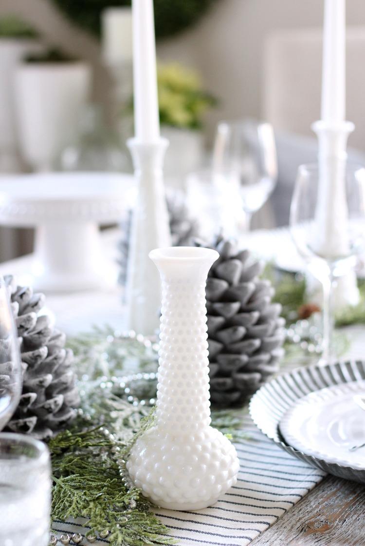 Christmas Home Tour - Vintage Milk Glass Collection Table Decor - Satori Design for Living