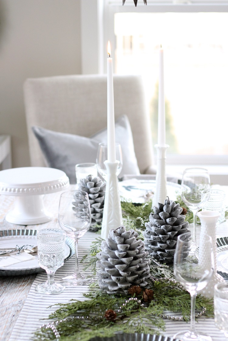 Christmas Home Tour - Pinecone and Greenery Table Centerpiece with White Dishes and Milk Glass Candle Holders - Satori Design for Living