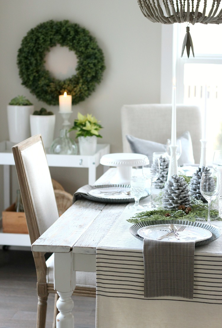 Christmas Home Tour - Vintage Farmhouse Table Setting with Beaded Chandelier and Boxwood Wreath - Satori Design for Living