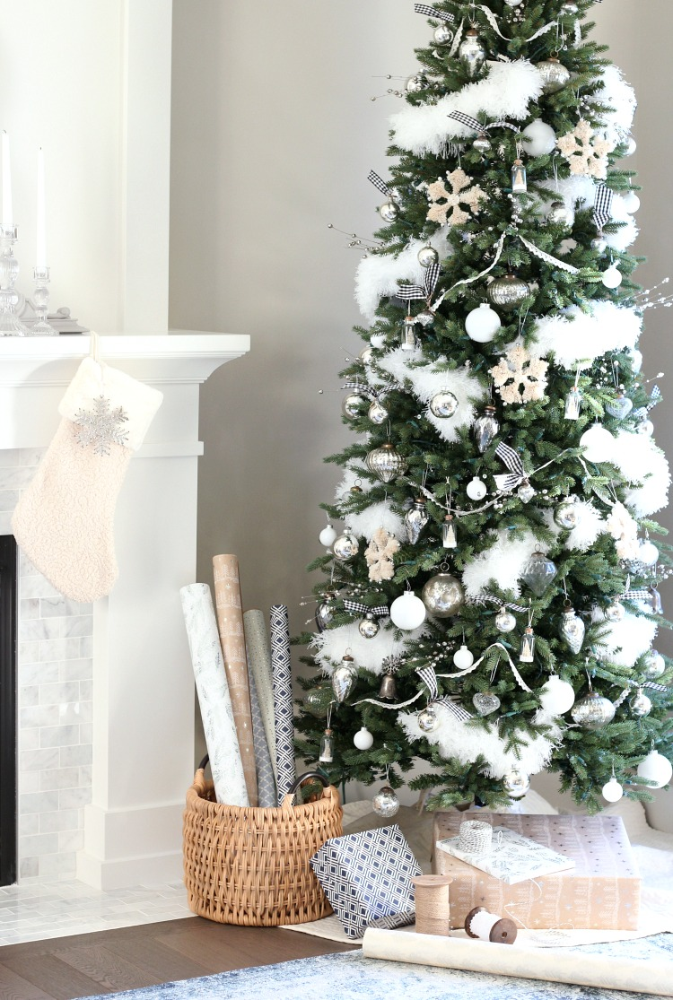 Christmas Home Tour - Vintage Inspired White and Silver Christmas Tree with Bottle Brush Snowflake Ornaments - Satori Design for Living