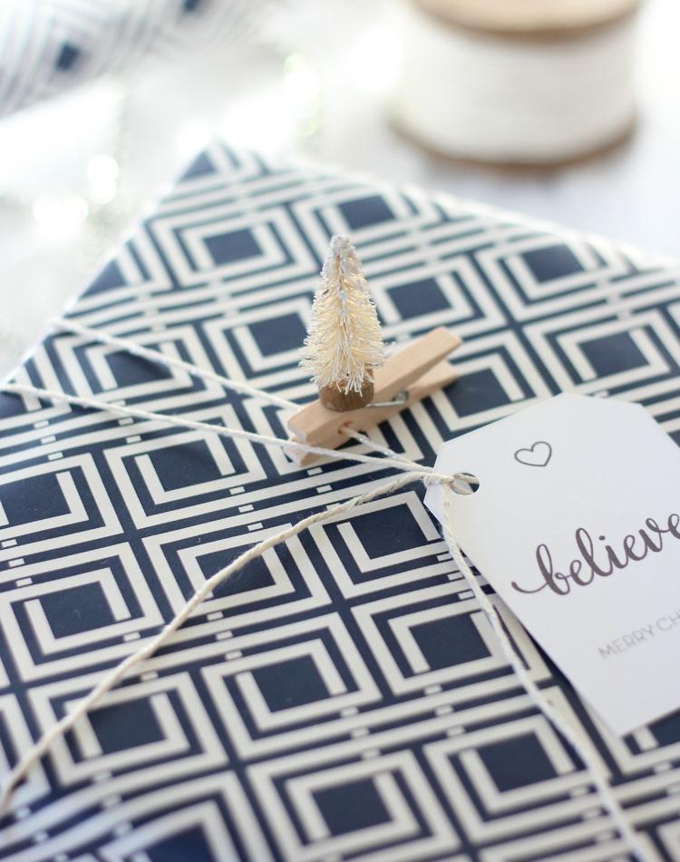 DIY Bottle Brush Tree Gift Decorations - Easy Christmas Gift Wrapping Ideas - Satori Design for Living