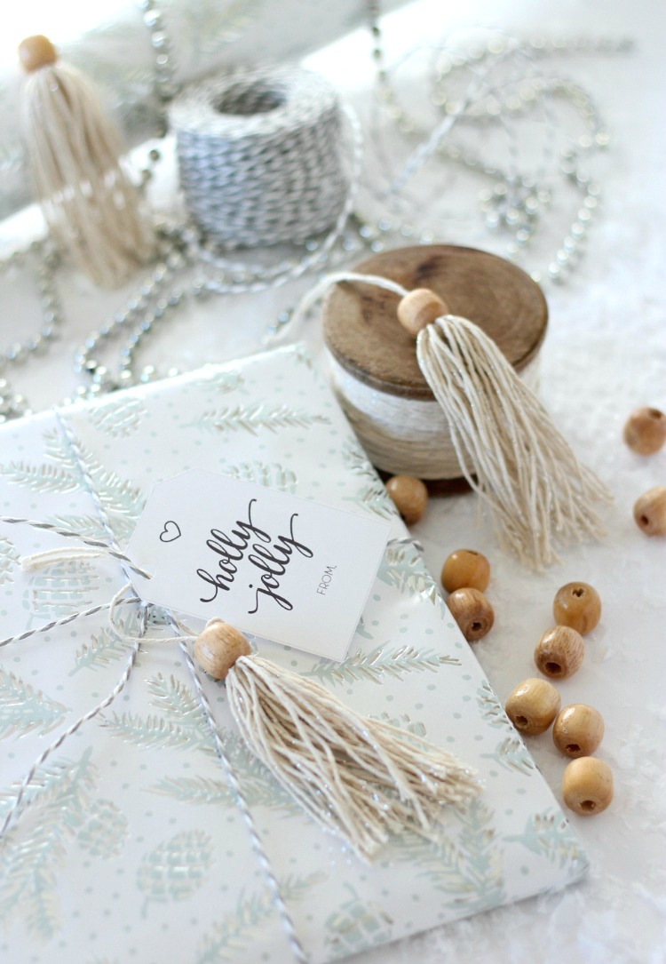 DIY Shabby Chic Tassel Christmas Present Toppers - Boho Gift Decorations - Satori Design for Living
