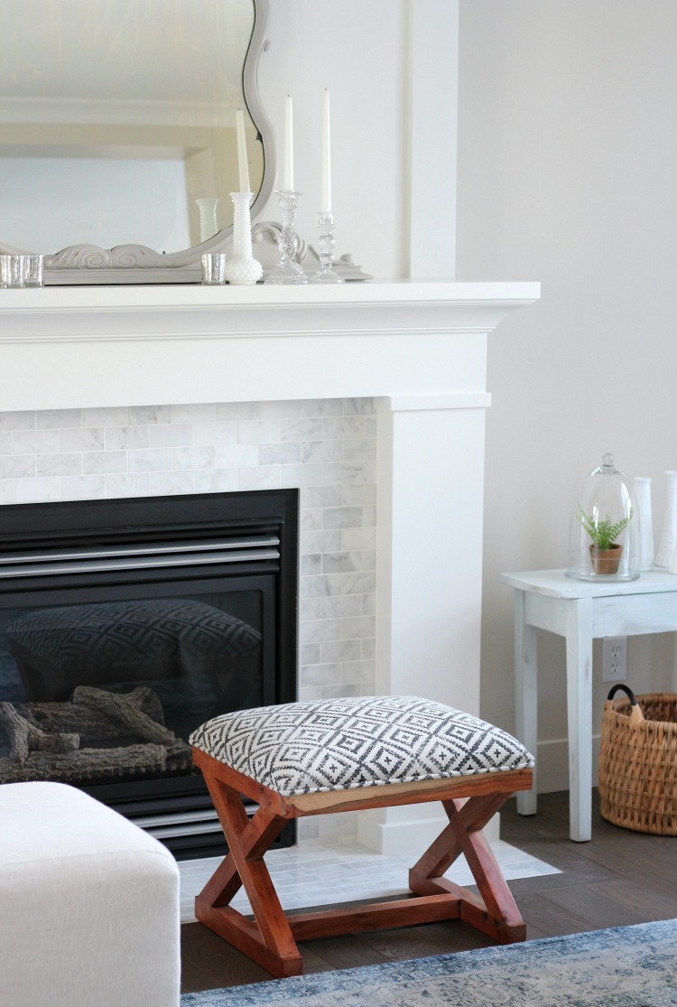 Benjamin Moore White Dove Fireplace and Trim with Marble Subway Tile Surround
