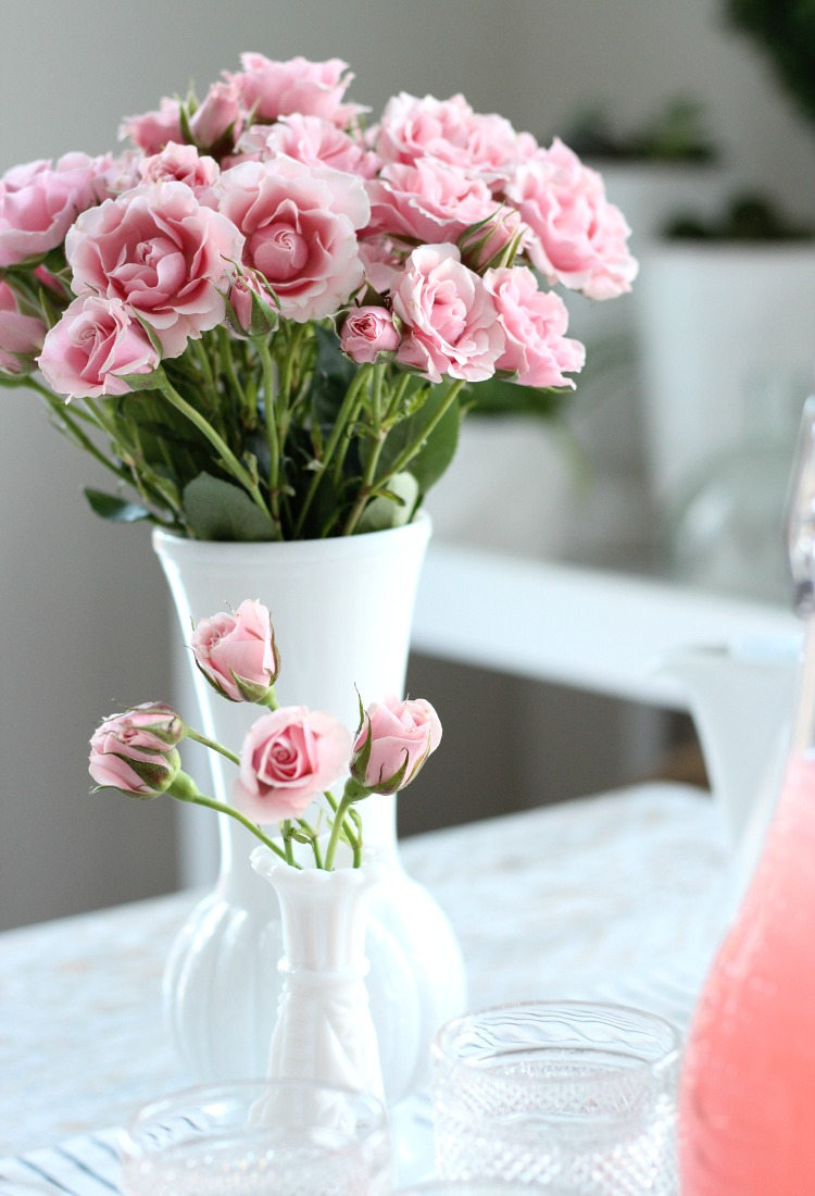 GALentine's Day Tea Party Decorating Ideas - Pink Spray Roses in Milk Glass Vases - Satori Design for Living