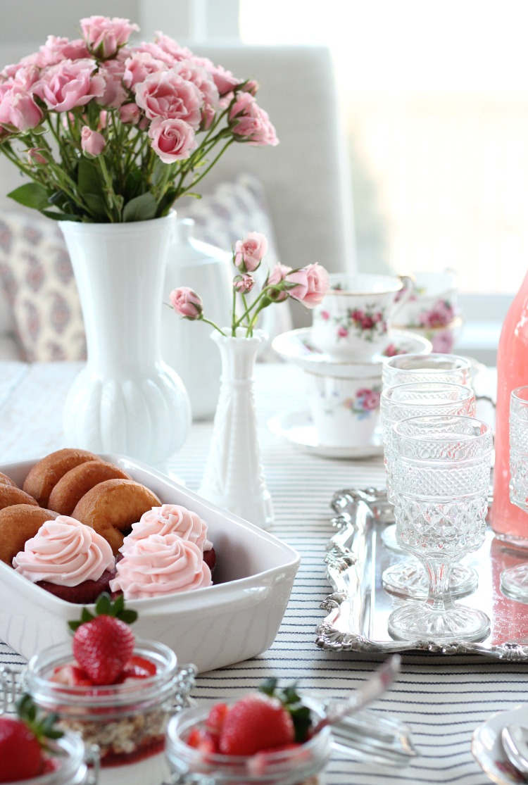GALentine's Day Tea Party Ideas - Pink Spray Roses in Milk Glass Vases and Vintage Table Decor - Satori Design for Living
