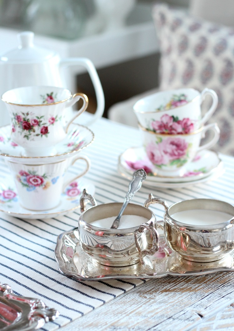 GALentine's Day Tea Party Decor with Vintage Floral Tea Cups and Silver Trays - Satori Design for Living