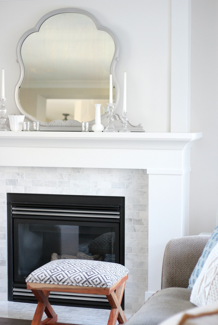 Benjamin Moore White Dove Fireplace Mantel with Marble Subway Tile Fireplace Surround