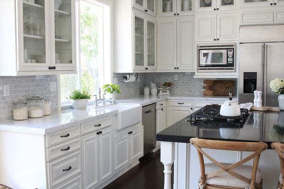 Benjamin Moore White Dove Cabinets - Farmhouse Kitchen Renovation via Maison de Cinq