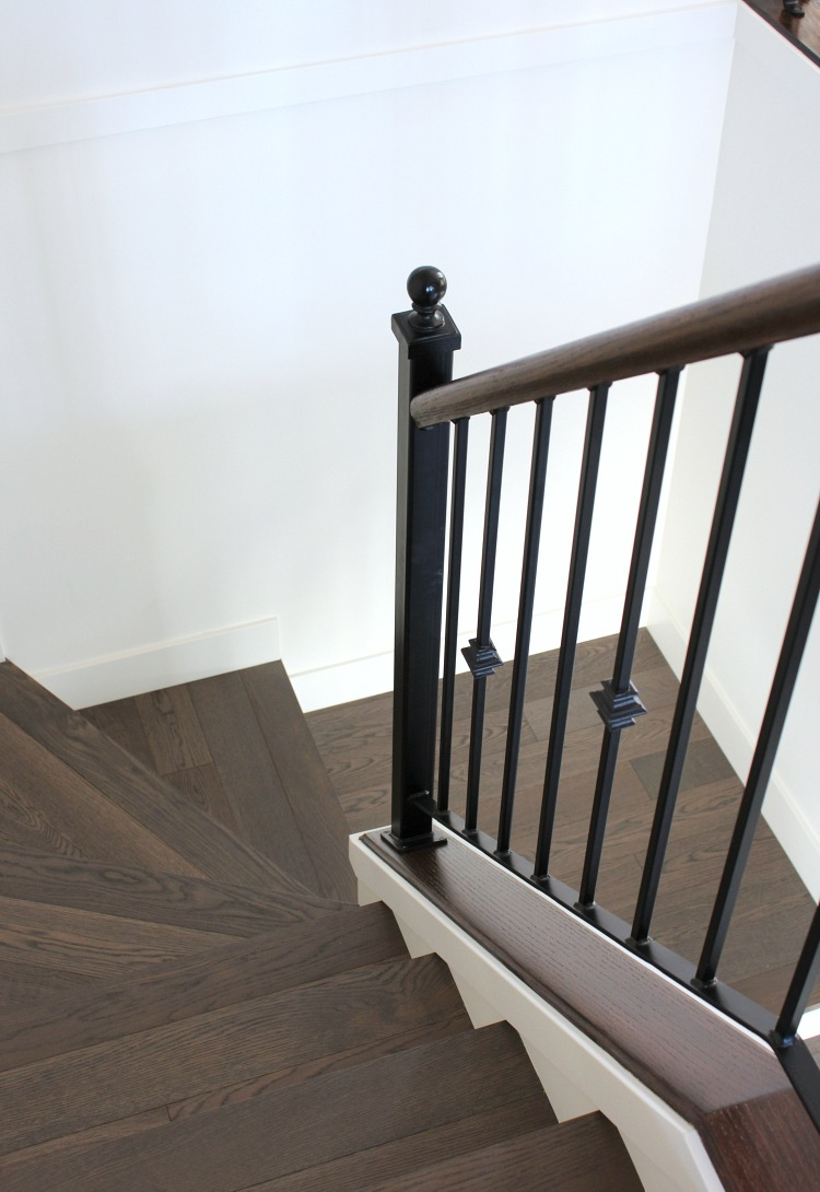 Benjamin Moore White Dove Staircase with White Dove Painted Stair Risers and Dark Oak Treads