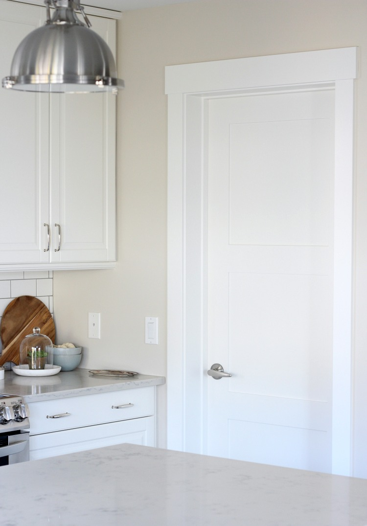 Benjamin Moore White Dove Trim, Doors and Ceiling in the Kitchen