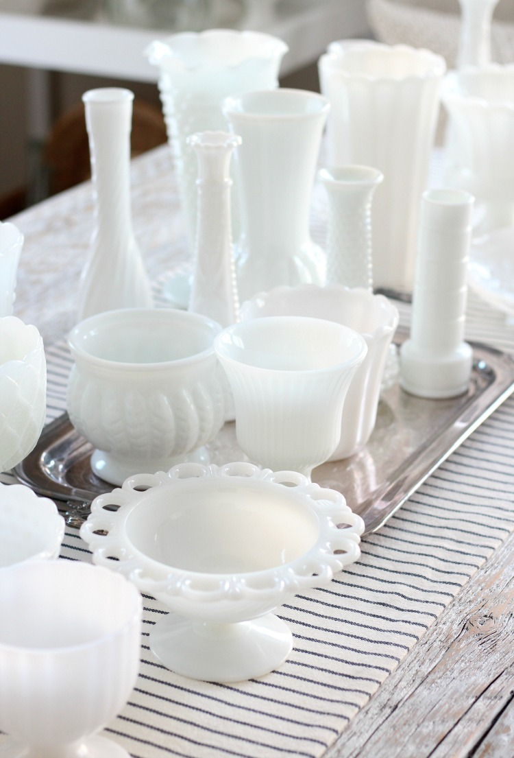 Collection of Vintage White Milk Glass Vases, Pots, Pedestal Bowls and More