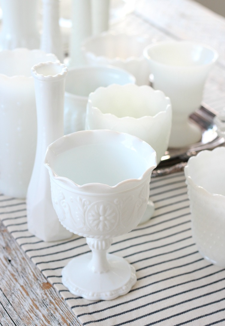 Collection of Vintage Milk Glass Vases, Pots, Pedestal Bowls and More