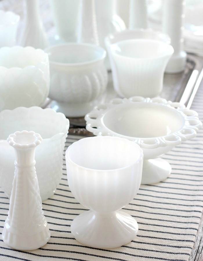 Decorating with Thrift Store Finds - Milk Glass Collection - Satori Design for Living