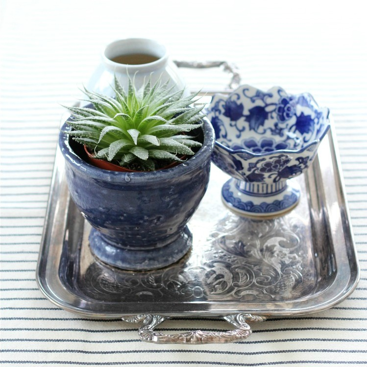 Easy Table Centerpiece with Thrifted Silver Tray and Blue Decor - Satori Design for Living