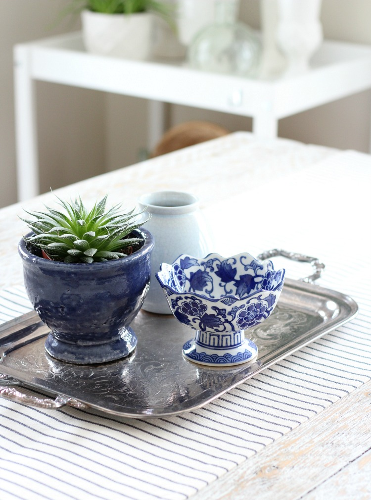 Easy Table Centerpiece Using Thrift Shop Finds - Silver Tray with Blue and White Decor and Succulents - Satori Design for Living