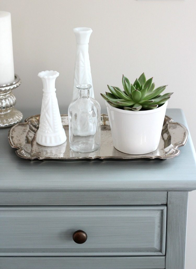 Spring Decorating Ideas - Potted Succulent Vignette with Thrift Shop Milk Glass and Silver Tray - Satori Design for Living