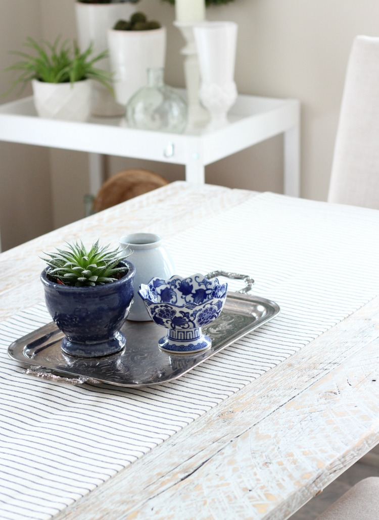 Succulent Table Centerpiece for Spring - Decorating the Table Using Thrift Shop Finds - Satori Design for Living