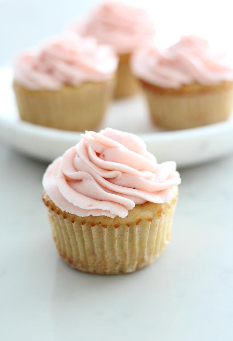 Almond Flour Cupcakes with Strawberry Buttercream