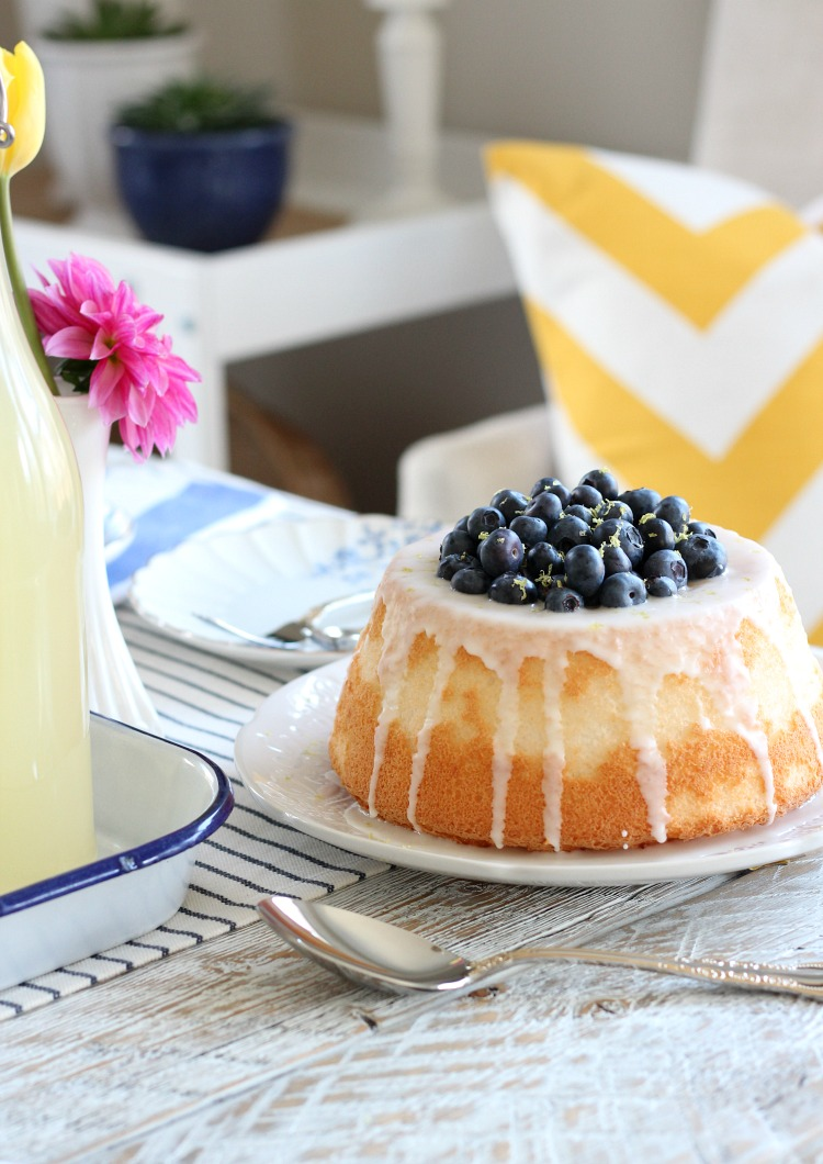 Easy Blueberry and Lemon Angel Food Cake for Mother's Day