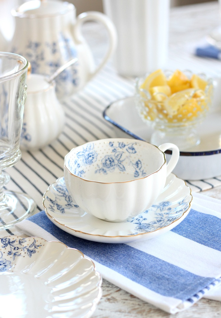 Afternoon Tea for Mother's Day - Pretty Blue and White Floral Tea Cup and Saucer - Tea Party Ideas