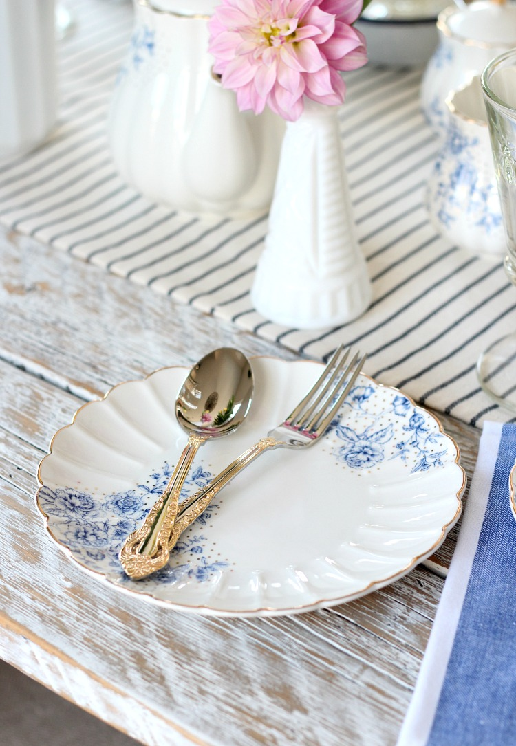 Hosting an Afternoon Tea for Mother's Day - Pretty Blue and White Floral Dessert Plate with Gold Flatware