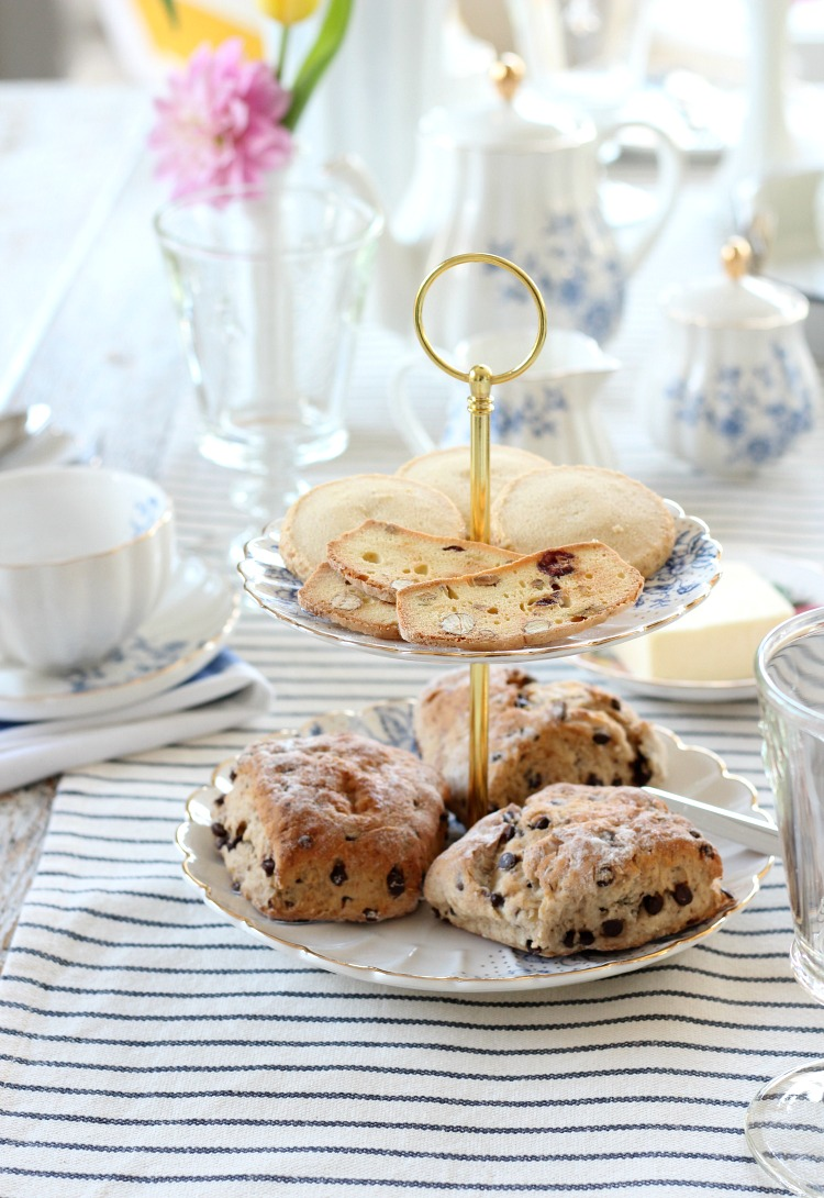 Tiered Server with Scones and Cookies for Afternoon Tea