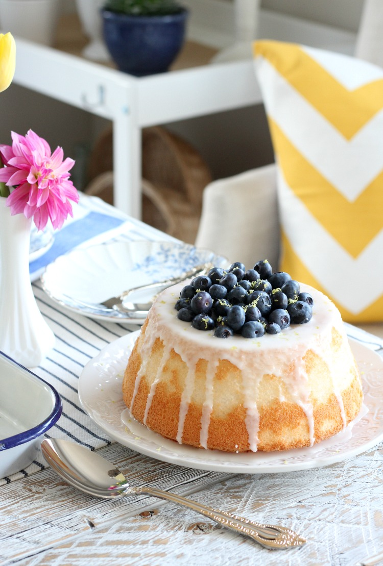 Blueberry and Lemon Angel Food Cake on White Patterned Plate