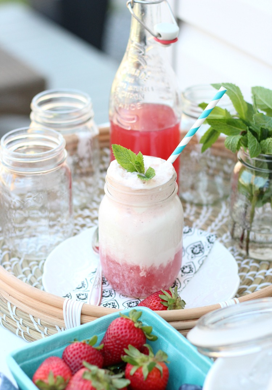 Ice Cream Float with Strawberry Soda and Vanilla Ice Cream in a Mason Jar